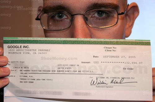 Google Adsense cheque by shoemoney blog
