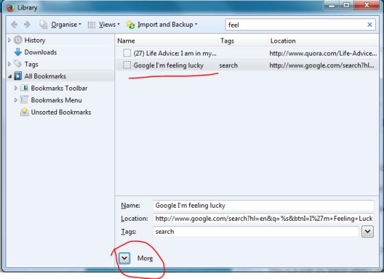 Google I'm feeling lucky in Firefox bookmark keyword edit